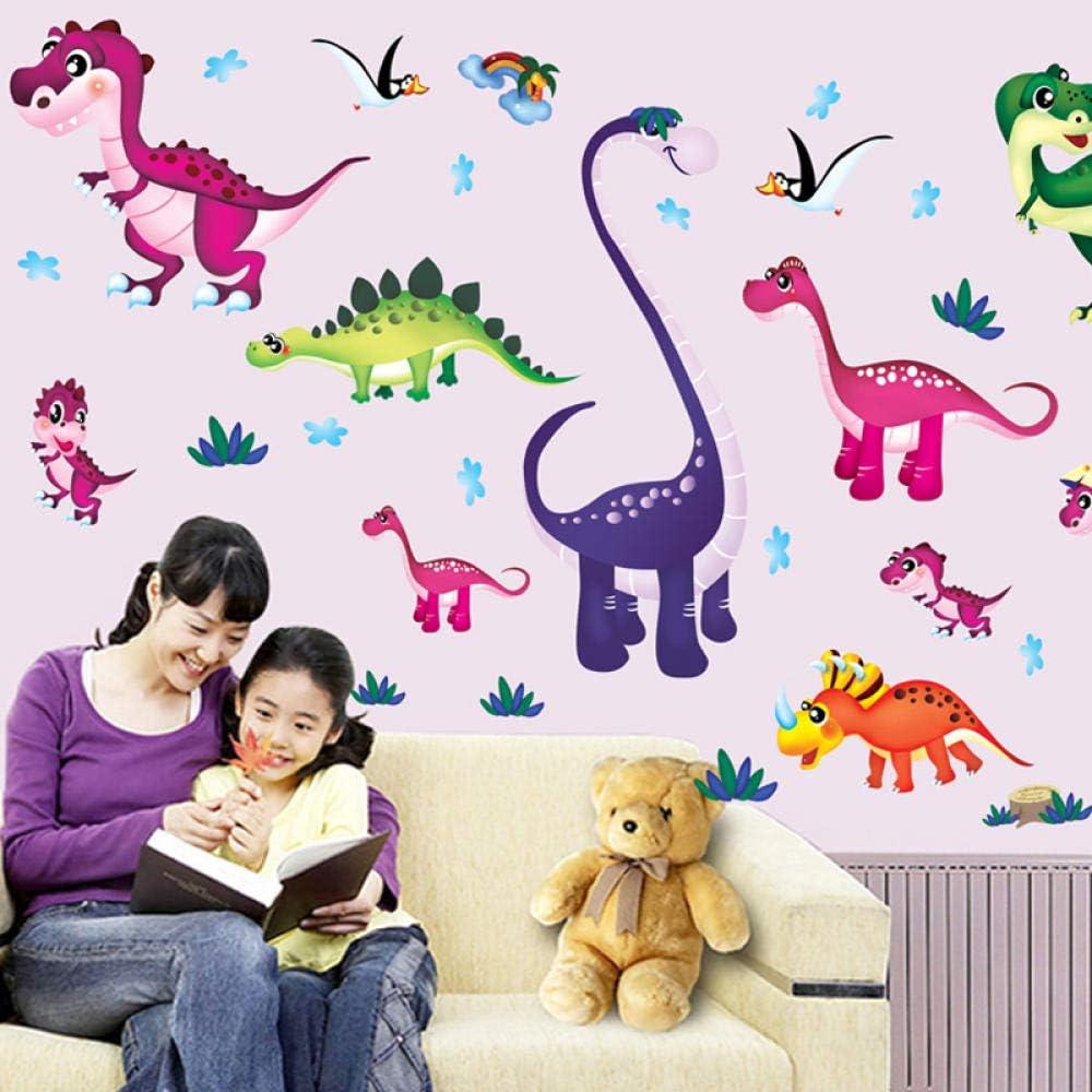 SUNER-EUR Dibujos Animados Pegatinas Decorativas Pegatinas DIY Papel Pintado Autoadhesivo Dinosaurio paraíso Puerta Pegatinas