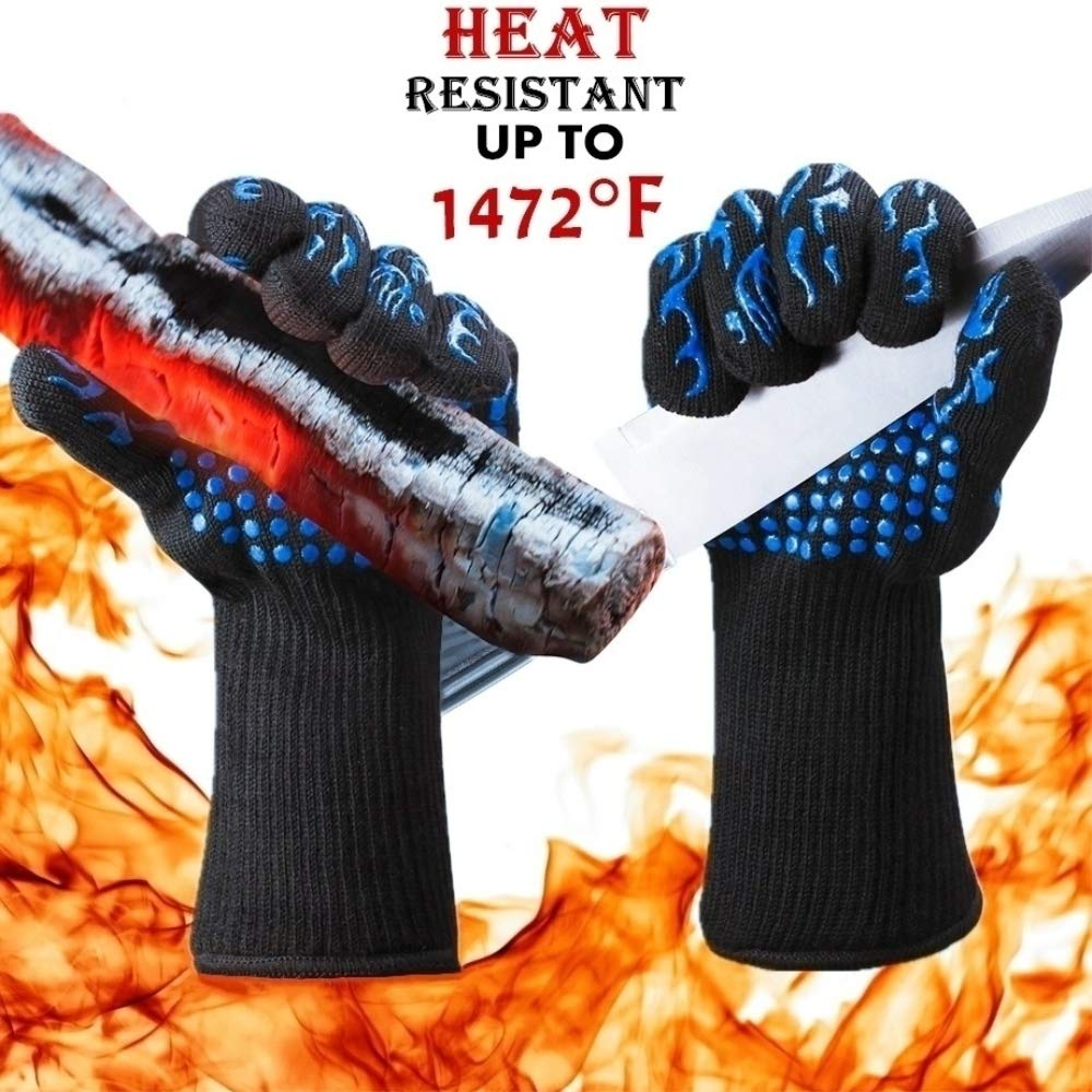 BBQ Grill Gloves, 1472°F Extreme Heat L5 Cut Resistant Grilling Gloves for Cooking, Baking and for Smoker, Silicone Insulated Cooking Aramid Oven Mitts, Long Non-Slip Potholder Gloves, 1 Pair