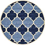 Cheap Unique Loom Trellis Collection Moroccan Lattice Light Blue Round Rug (6′ x 6′)