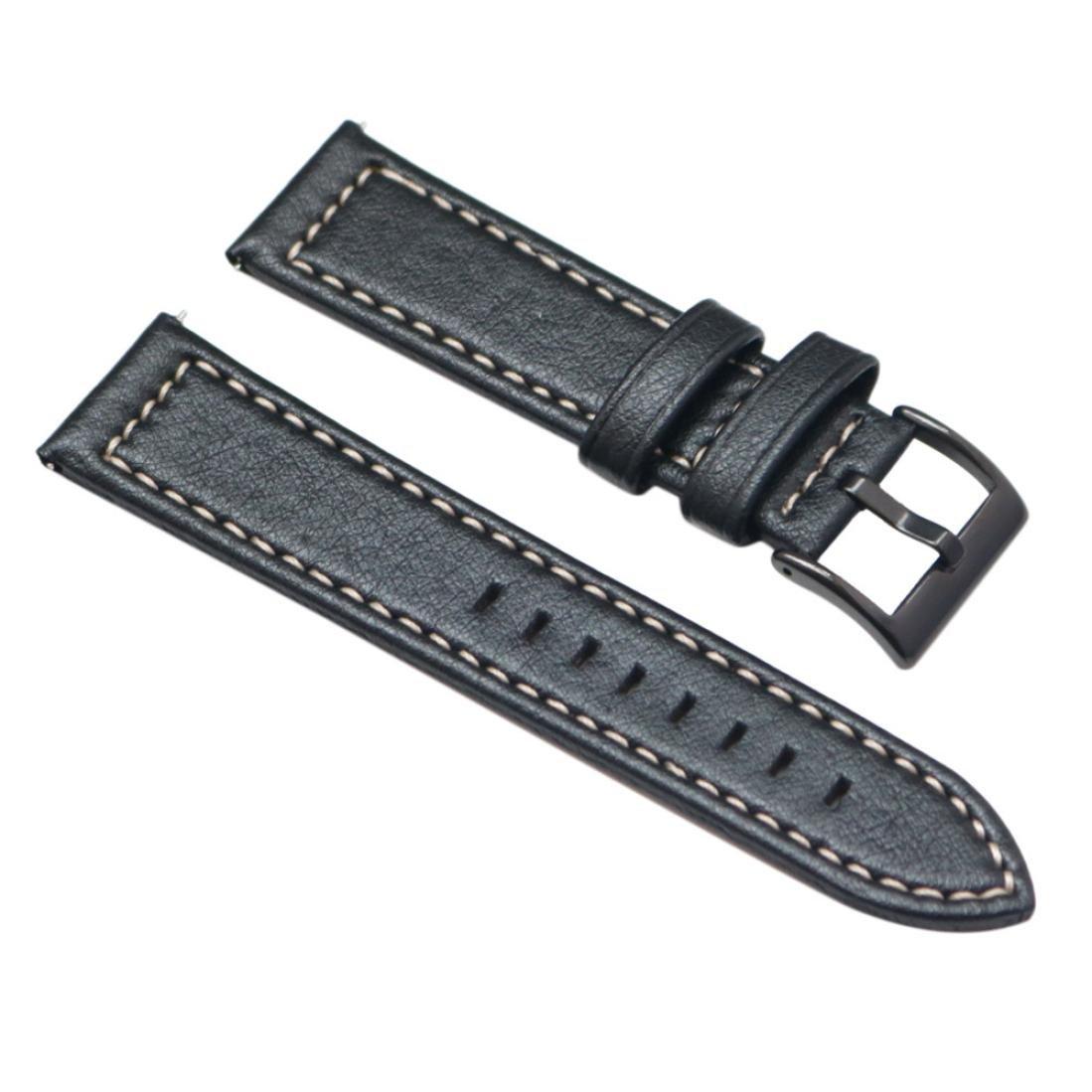 Tiean for Samsung Gearスポーツ、新しい高級レザーバンドブレスレット時計バンド ブラック  ブラック B0776CCLHP