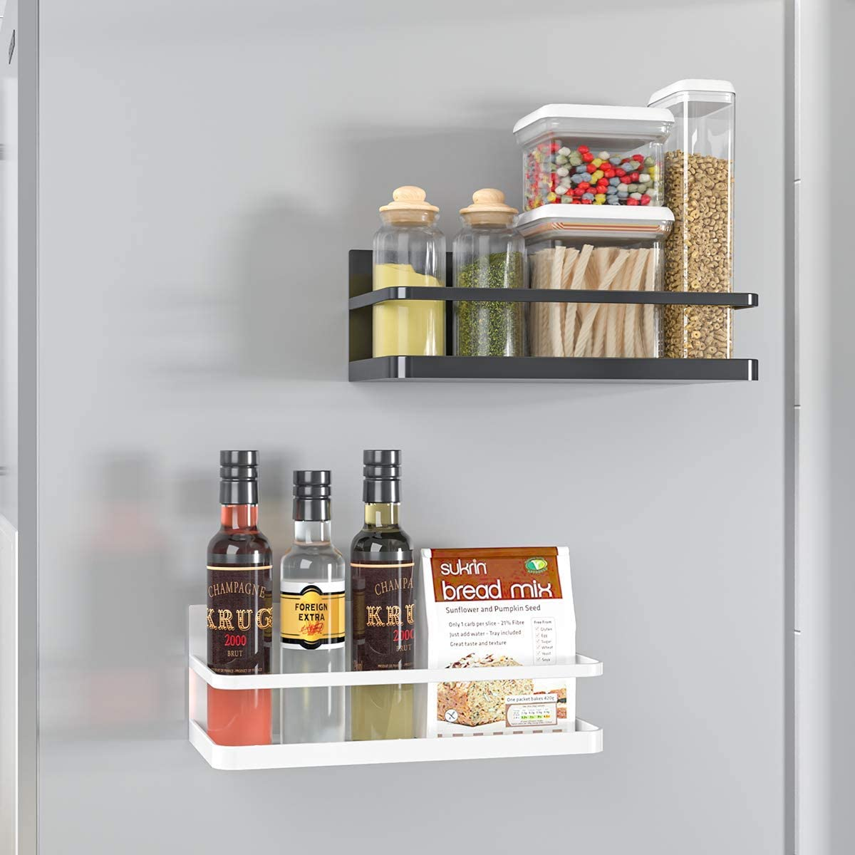Magnetic Spice Rack, 95store Magnet Refrigerator Spice Shelf Organizer for Spices, Jar of Olive Oil, Cooking Oils, Salt, Pepper, Perfect Space Saver for Small Kitchen White, 2