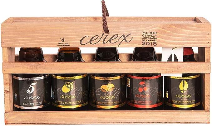 CEREX- Pack Degustación de 5 Cervezas Artesanas Españolas con caja ...