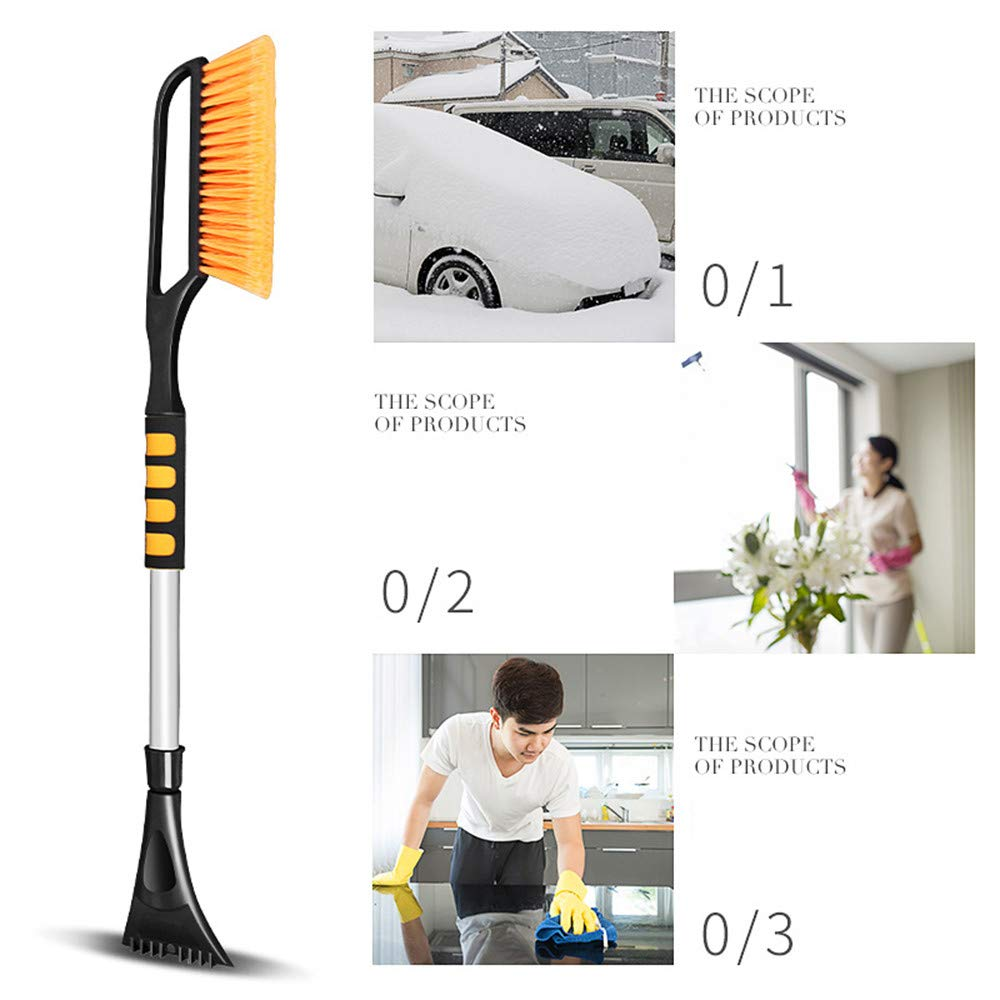 Cool Tool Snow Brush Multipurpose Long Handle Snow Removal Brush Scraper Ice Shovel Car Vehicle with Integrated Ice Scraper and Foam Grip (Blue) scaling