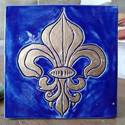 Fleur de Lys Ceramic Decorative French Tile Gold Fleur de Lis Wall Decor Blue Mosaic - Fleur De Lys Ceramic
