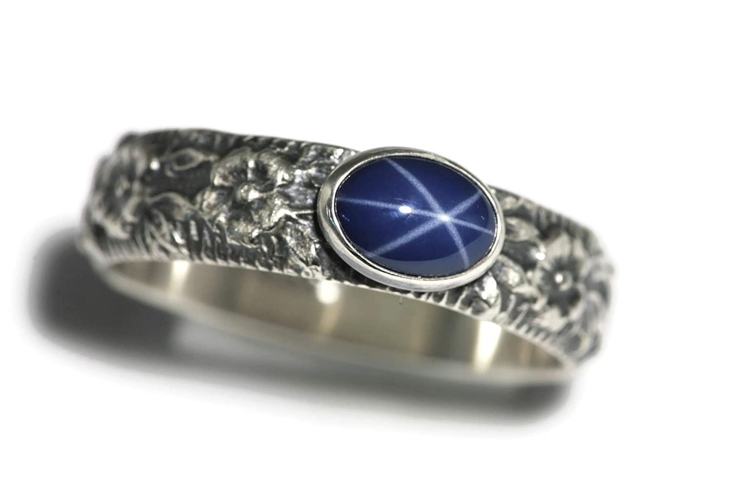 Oval Created Blue Star Sapphire Ring Flower Chain Vintage Silver E-W