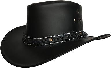 Genuine Leather Cowboy Hat Aussie Designer Wet Look Fancy Dress Costume