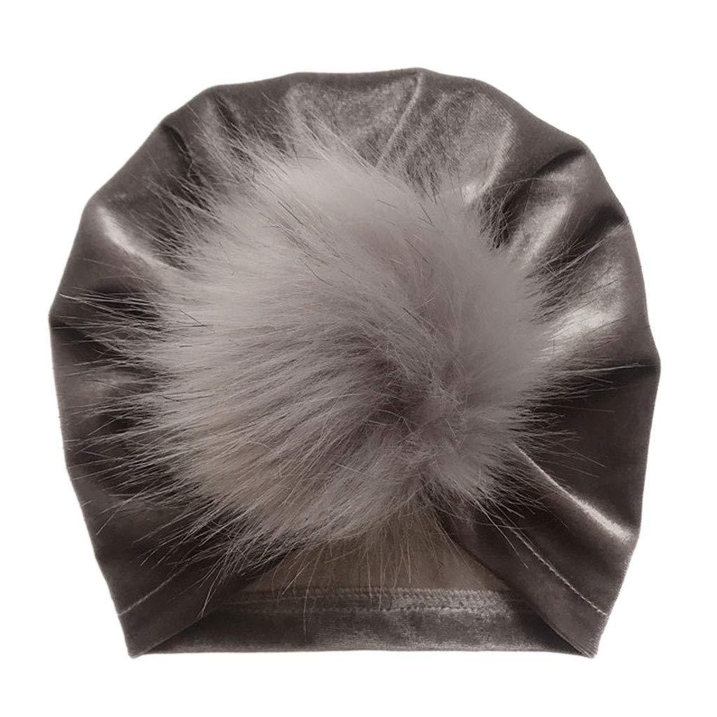 ZOOMY Neonata Neonata Inverno Glitter in Velluto Turban Cappello Fluffy Pompon Palla Increspata Pieghettato Cuffia Cuffia annodata Warmer Grigio