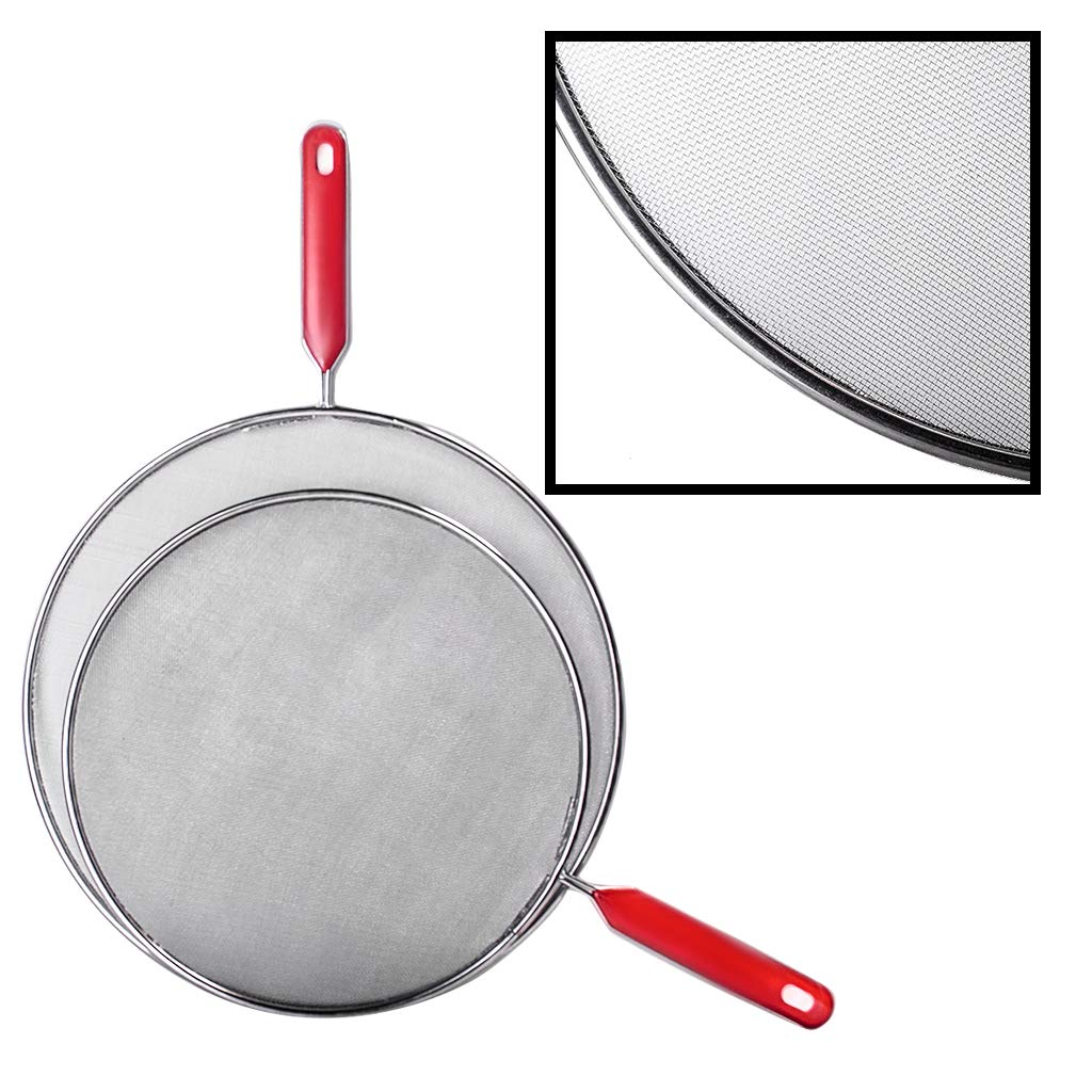 Mesh Splatter Screen with Plastic Handle Small Splatter Screen Oil Splatter Screen Guard Round Splatter Screen for Kitchen