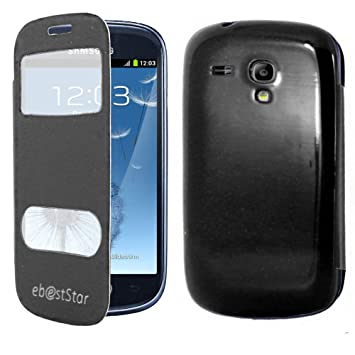ebestStar - Compatible Funda Samsung S3 Mini Galaxy GT-i8190, i8190N Carcasa Ventana Vista Cover, Cuero PU Funda Libro Billetera, Negro [Aparato: ...
