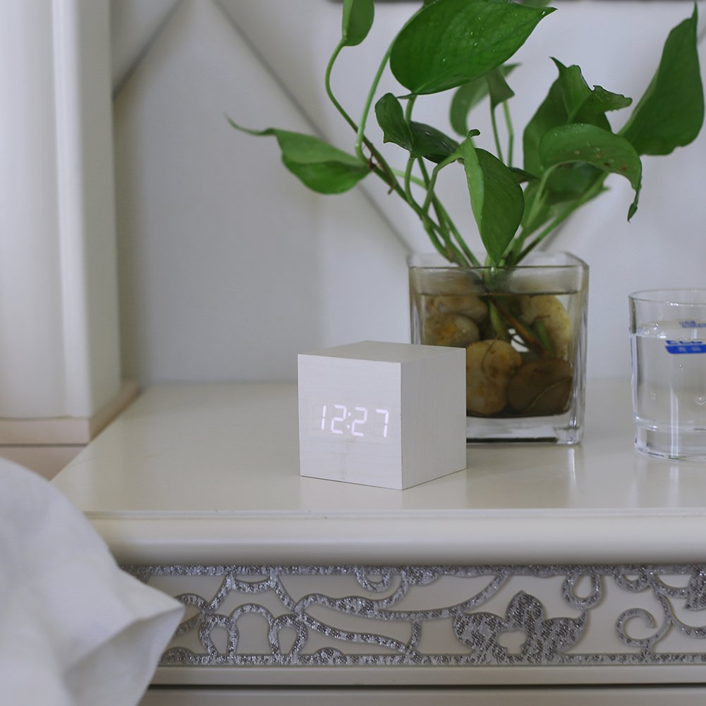 Wood Alarm Clock Digital LED Light Minimalist Mini Cube with Date and Temperature for Travel Kids Bedroom-White by WulaWindy (Image #4)