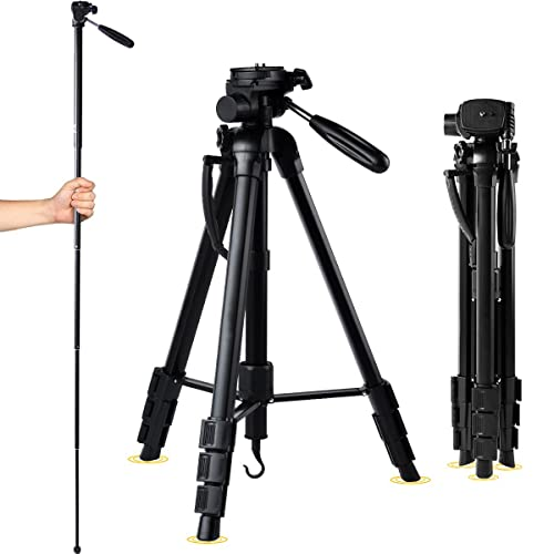 Tripod for Camera 1.7M Lightweight Aluminum Monopod - for Nikon Canon Sony DSLR with Tripod Bag
