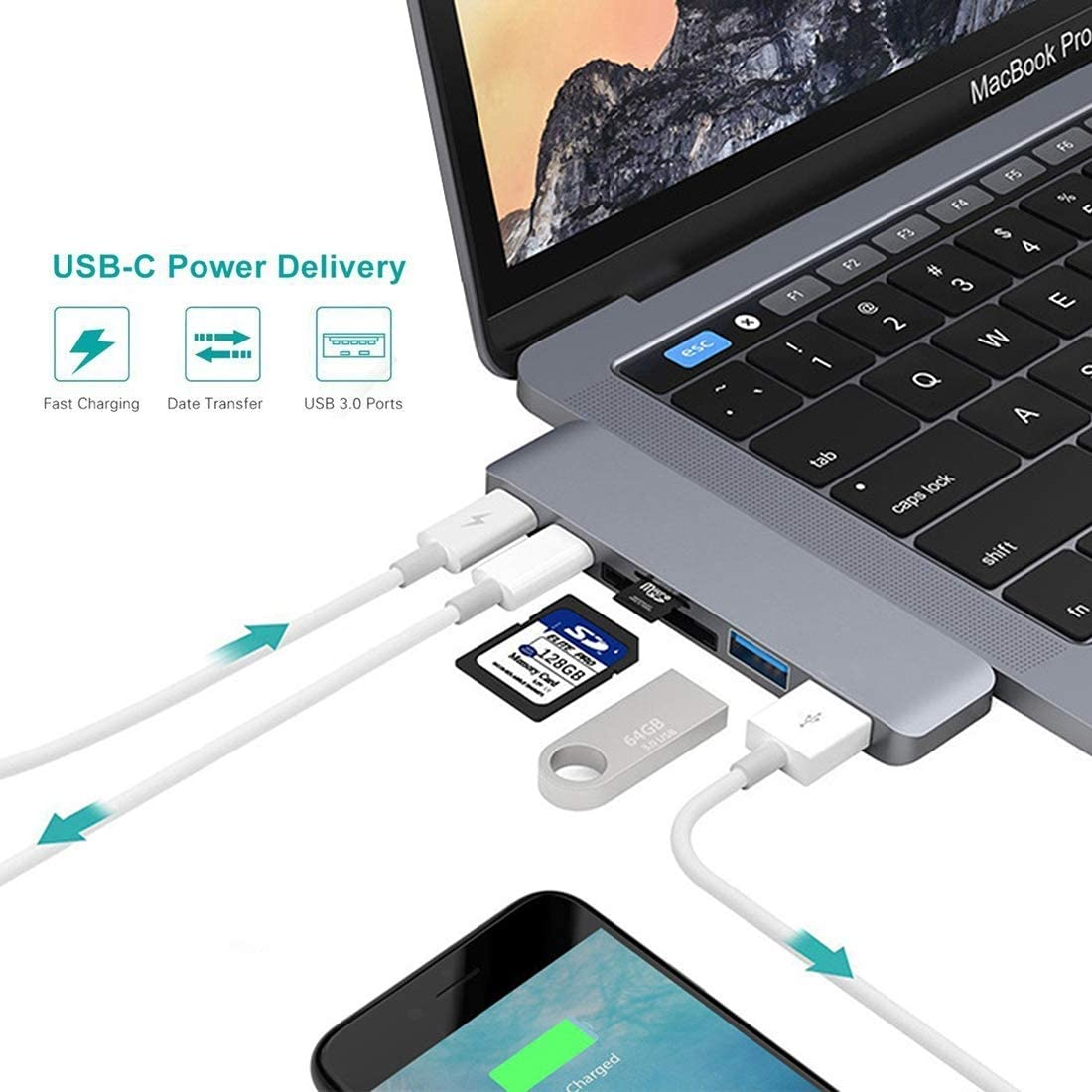 ZMKK USB Type-C Series USB HUB 6 in 1 Multi-Function Aluminium Alloy 5Gbps Transfer Rate Dual USB-C//Type-C HUB Adapter with 2 USB 3.0 Ports /& 2 USB-C//Type-C Ports /& SD Card Slot /& TF Card Slot for