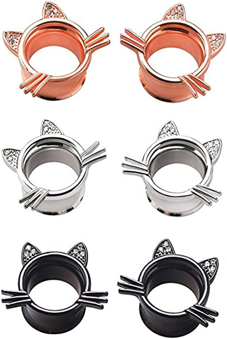 YOFANST Organic Stone Cute Cat Ear Stretching Plugs Gauge from 2g to 5//8