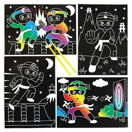 Amazon.com: Baker Ross Ninja Scratch Art Scenes for Children ...