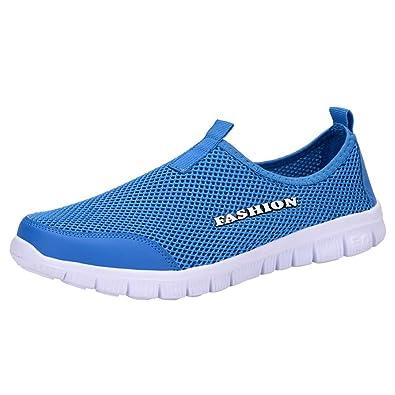 GongzhuMM Sneakers Homme Mesh Baskets Mocassins Chaussures de Sport  Chaussures de Course Chaussures de Marche Bleu 62421139bb21