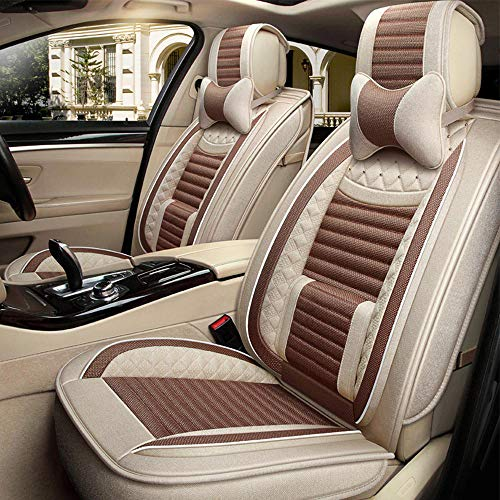 (Patny Car Seat Covers, Linen Non-Slip Four Seasons Universal Car Seat Covers with Headrest Pillow Compatible with Most 5-seat Cars for Toyota, Honda, Hyundai (Light Brown))