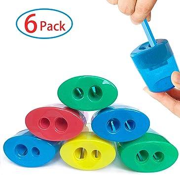HILELIFE - Sacapuntas manual (6 unidades) - Sacapuntas de mano, número 2, lápices de colores, sacapuntas de mano, 2 agujeros, para niños: Amazon.es: Oficina y papelería