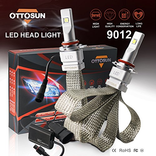 OTTOSUN LED headlight bulbs 9012 X-18 Series LED Headlights with 2 Pcs of Headlight Conversion Kits 72W 8000LM CREE LED Chips Driving Light (Pack of 2) - 1 Year Warranty