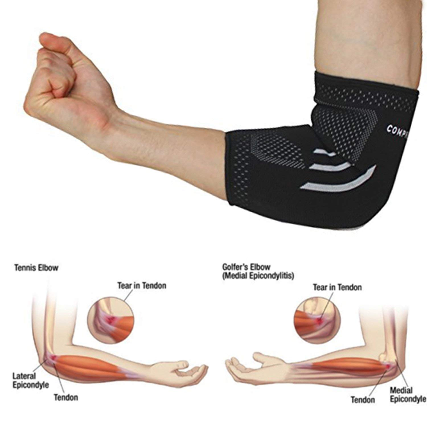 Elbow Support Compression Arm Sleeve For Tendinitis Arthritis