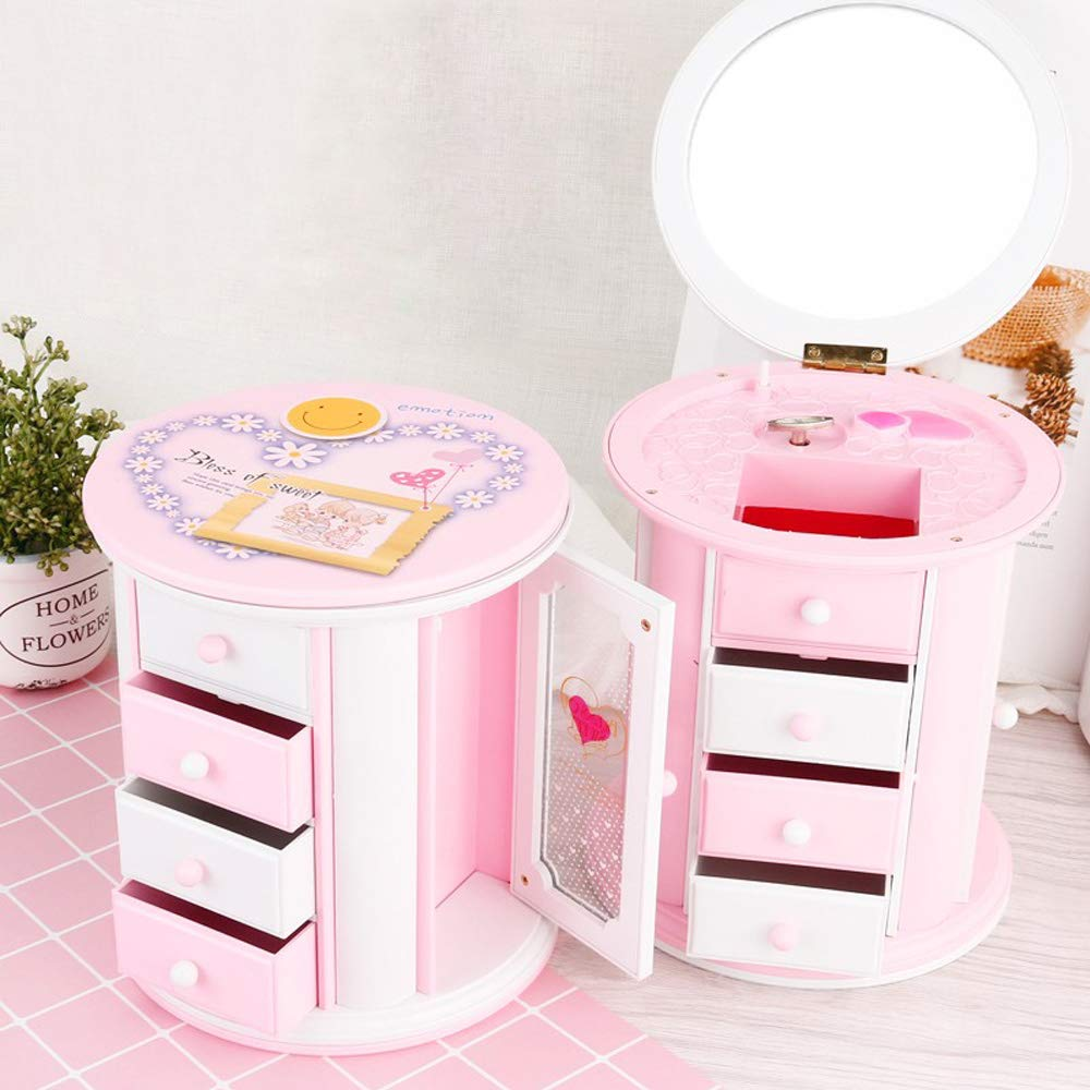 Music Jewelry Box Storage Case for Little Girls with a lot of Pullout Drawers Pink