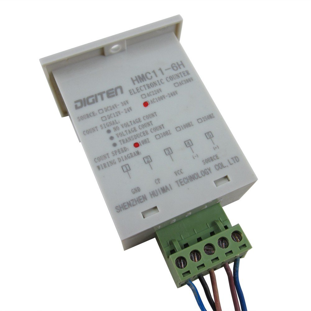 Digiten 0 999999 Digital Led Counter Photoelectric Ac 3 Wire Proximity Switch Wiring Free Download Diagrams Sensor Reflector Automatic Conveyor Belting 100 220vac Home Improvement