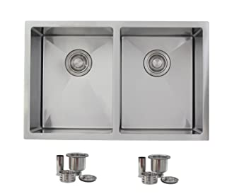 28 Inch Undermount Kitchen Sink Double Bowl 50/50 .18 Gauge Stainless Steel