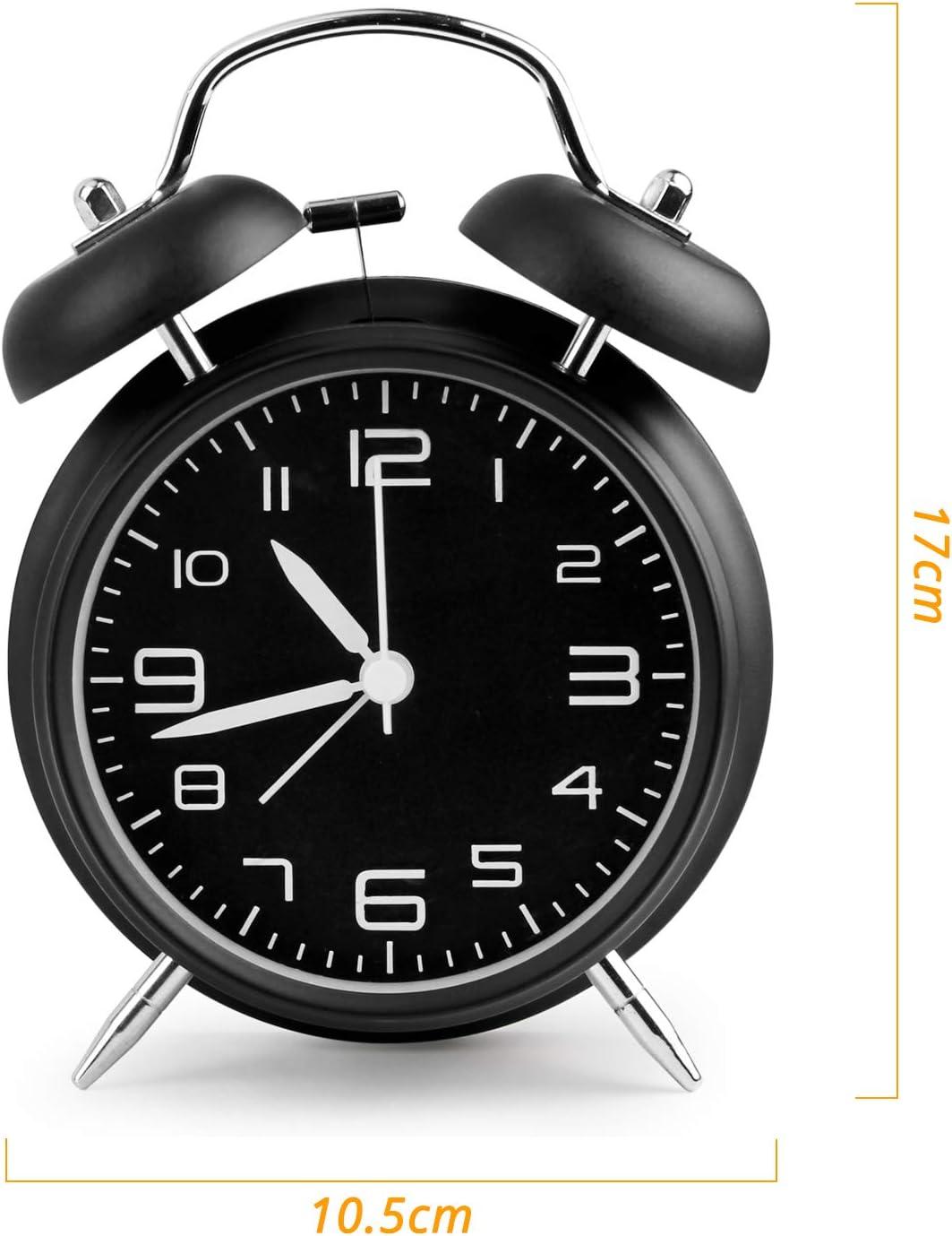 Aodoor Sveglia a Doppia Campana Senza ticchettio per Sleepers Leggeri e Pesanti meccanismo al Quarzo Nero 4 Pollici Grande Quadrante Sveglia da Comodino Stile Vintage