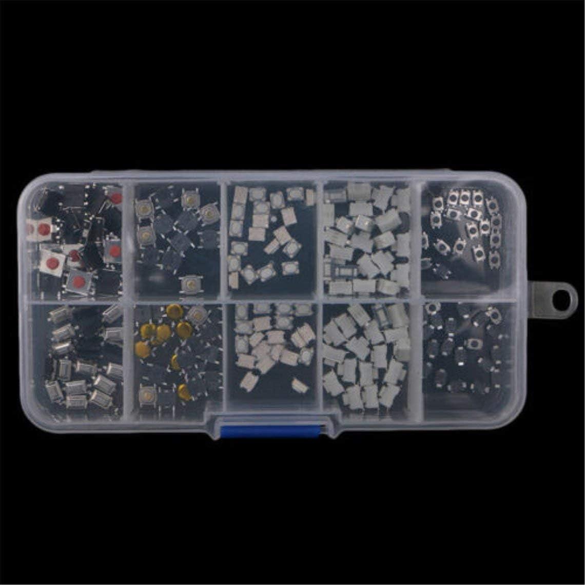 Zinniaya 250 Pcs Tactile Bouton-Poussoir Commutateur Micro Commutateur 10 Mod/èles pour Voiture T/él/écommande Bouton Commutateurs Kit Ensemble Interrupteur /à Cl/é