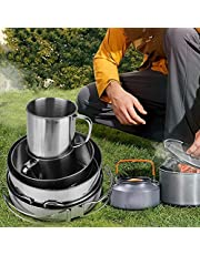 Camping Cookware, Portable High Quality Stainless Steel Hygienic Foldable Cookware Set, Safe and Durable for Outdoor Uses Picnic