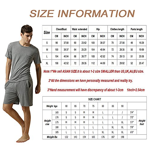 QIANXIU Men's Summer Short Sleeve Pajamas Casual Striped Shorts & Shirt PJ Set, Grey, Large by QIANXIU (Image #5)