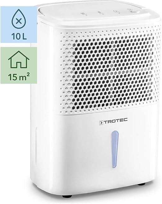 TROTEC Deshumidificador eléctrico TTK 26 E / 10L / Desagüe 1,8 L/Portátil/para Habitaciones de hasta 15m² / 37 m³ / Filtro de Aire/Silencioso / 240 W/Auto-Apagado ...