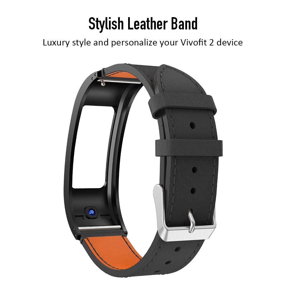 ANCOOL Compatible Garmin Vivofit 2 Band Replacement Leather Wristbands Compatible Garmin Vivofit 2//Vivofit 2 NOT Compatible Garmin Vivofit 3//4//JR
