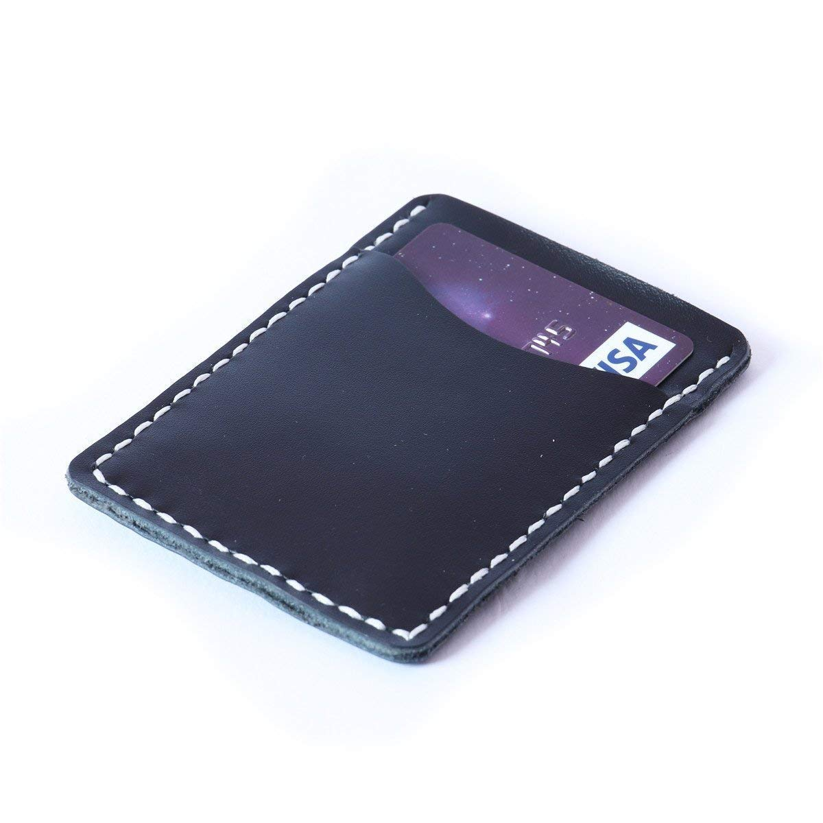 Handmade Front Pocket Card Case Genuine Leather Thin Credit Card Holder for Men Women
