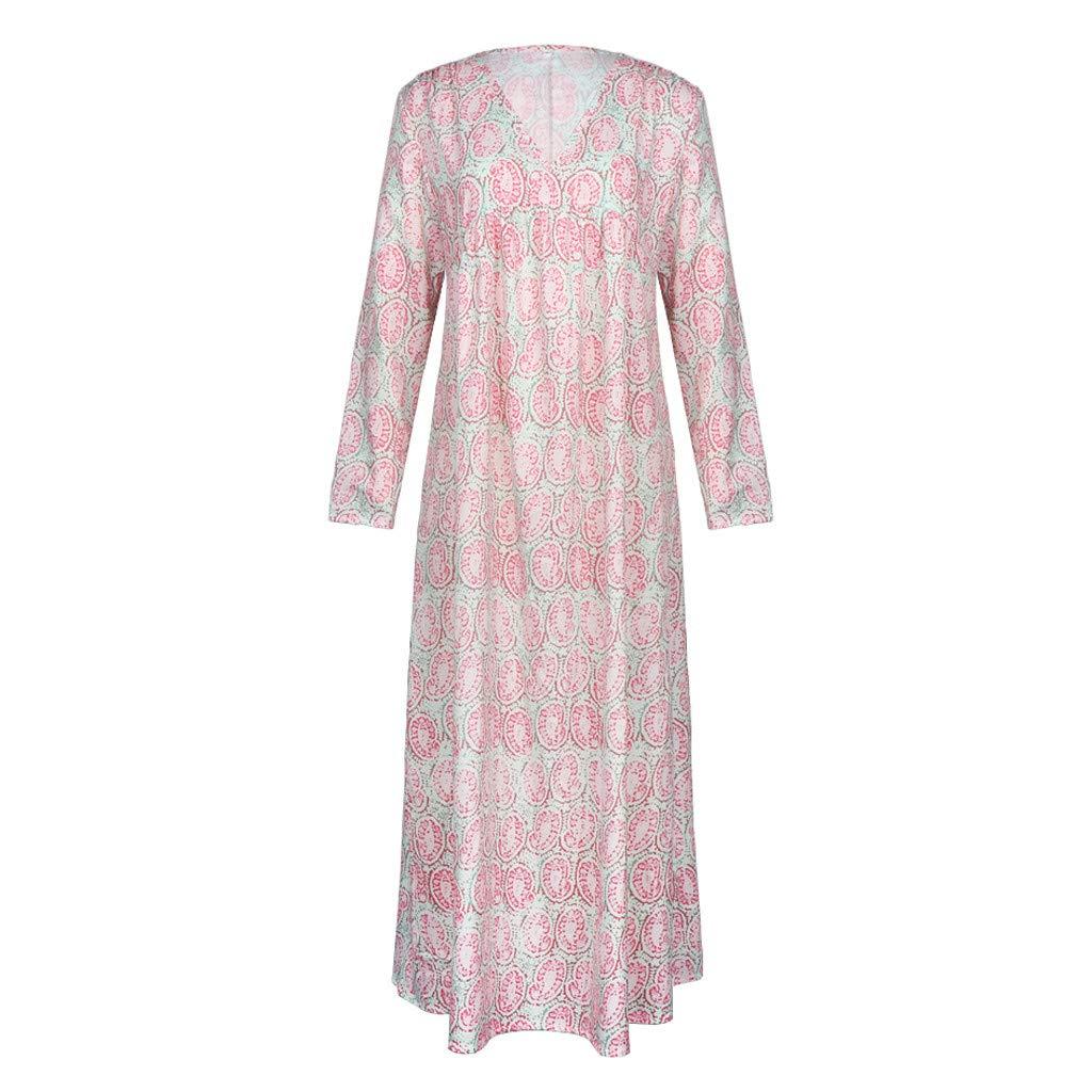 Lomsarsh Dress, Women's Fashion Vacation V-Neck Flower Print Loose Print Three Quarter Sleeve Long Dress Summer Casual Dress Sundresses