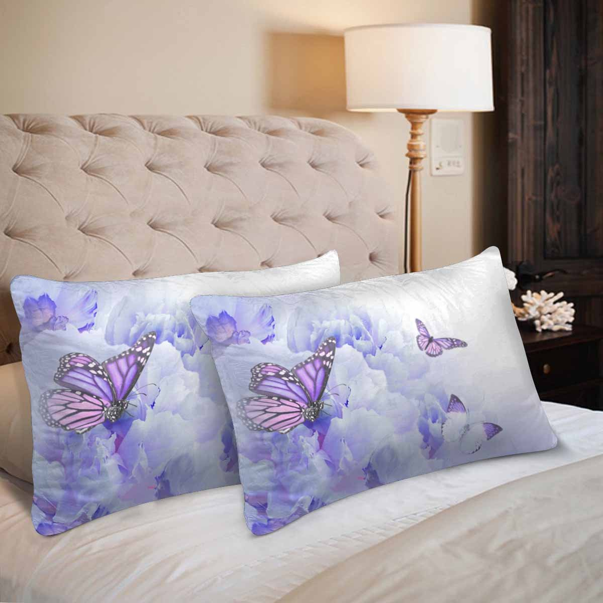 InterestPrint Floral Roses Butterfly Wild Flower Pillow Cases Pillowcase Queen Size 20x30 Set of 2 Rectangle Pillow Covers Protector for Home Couch Sofa Bedroom Decoration