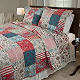 OSK 3 Piece Multi Color Rustic Full Queen Size Quilt, Red Brown Damask Floral Pattern, Blue Biege French Country Shabby Chic Lake House, Cottage Striped Flower Stripes, Cotton Polyester