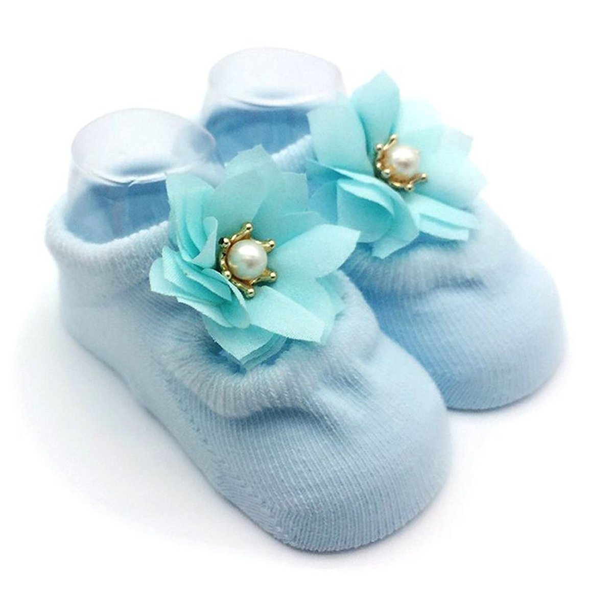 3 Pairs Non-skid Baby Girls Toddler Mary Jane Socks Flower Bowknot Newborn Socks