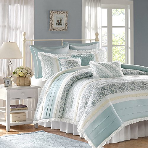 Madison Park - Dawn 9 Piece Cotton Percale Cotton Duvet Cover Set - Blue - Queen - Pieced Pattern - Includes 1 Duvet Cover, 2 Shams, 3 Decorative Pillows,2 Euro Shams,1 Bed (Cotton Percale Pillow Sham)