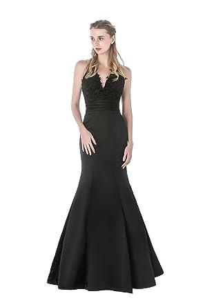 Amazon.com: Celebrity Style Long Mermaid Halter Sleeveless Lace ...