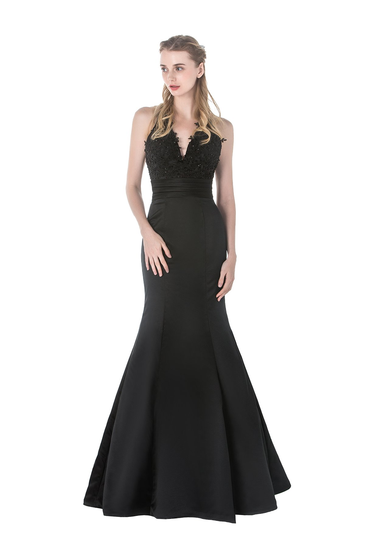 Celebrity Style Long Mermaid Halter Sleeveless Lace Satin Formal Evening Gown