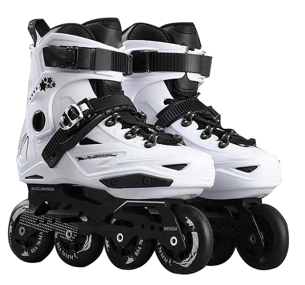 Inline Skates For Men Unisex Racing PP Material 3D Aluminum Alloy Bracket PVC High Elasticity PU Wheels White-Black , 35