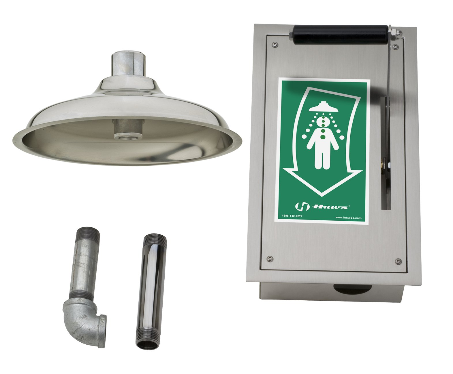 Haws 8164 Flush To Ceiling-Mounted Drench Shower with Pull-Down Lever