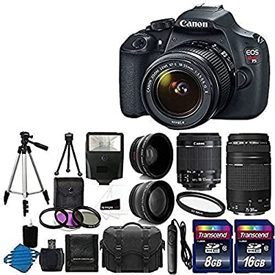 Canon EOS Rebel T5 Digital SLR + canon EF-S 18-55mm f/3.5-5.6 IS & EF 75-300mm f/4-5.6 III Lens + 58mm 2x Lens + Wide Angle Lens + Auto Power Flash + UV Filter Kit + 24GB SDHC card + Accessory Bundle by Canon