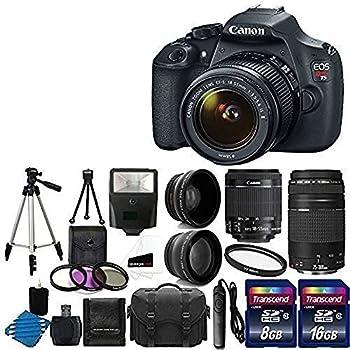 Canon EOS Rebel T5 Digital SLR + canon EF-S 18-55mm f/3.5-5.6 IS & EF 75-300mm f/4-5.6 III Lens Bundle