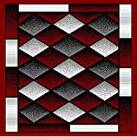 Luxury Home Fashion, Liza Collection, Modern Design Printed Diamonds Area Rug, Luxurious, Elegant, and Fashionable Area Rug 5.3 X 7.2 (#172) (Red)