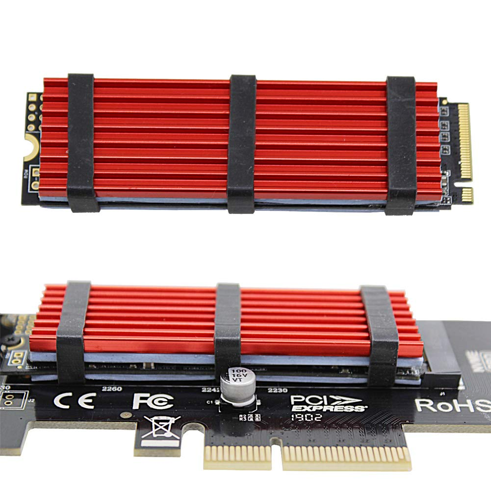 Aluminum Alloy Heat Sink with Silicone Thermal Pads M.2 2280 SSD heatsink Double-Sided Heat Sink for PCIE NVME SSD or SATA M.2 SSD