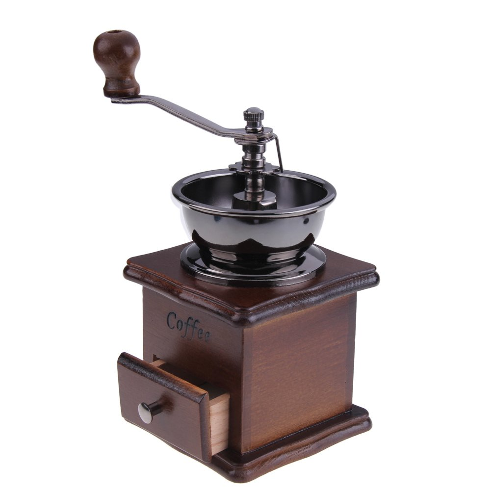 ttnight Mini Manual Coffee Grinder Mill Wood Stand Bowl Antique Hand Coffee Bean Grinder (Maroon) by TTnight (Image #2)