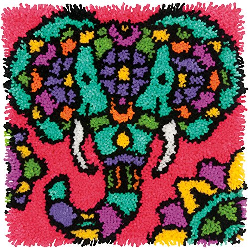 Dimensions Colorful Elephant Latch Hook Craft Kit, 16'' x 16''