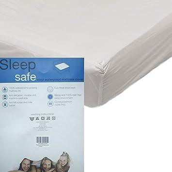 Protector para colchones de plástico de vinilo con forma de sábana bajera, resistente al agua