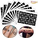 COKOHAPPY Tattoo Stencil +100 Self-adhesive Temporary Tattoo Templates for Henna/Airbrush / Face paint/Glitter